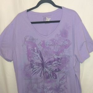 Just My Size Tops - Purple Butterfly Tee